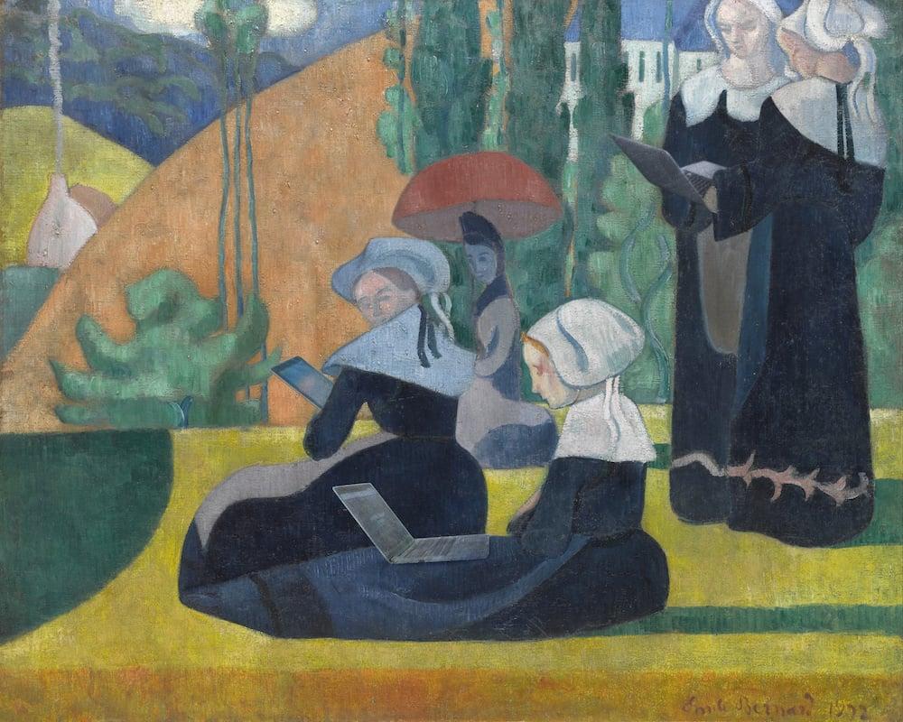 Emile Bernard - Breton Women with Umbrellas - bande passante - 62x53