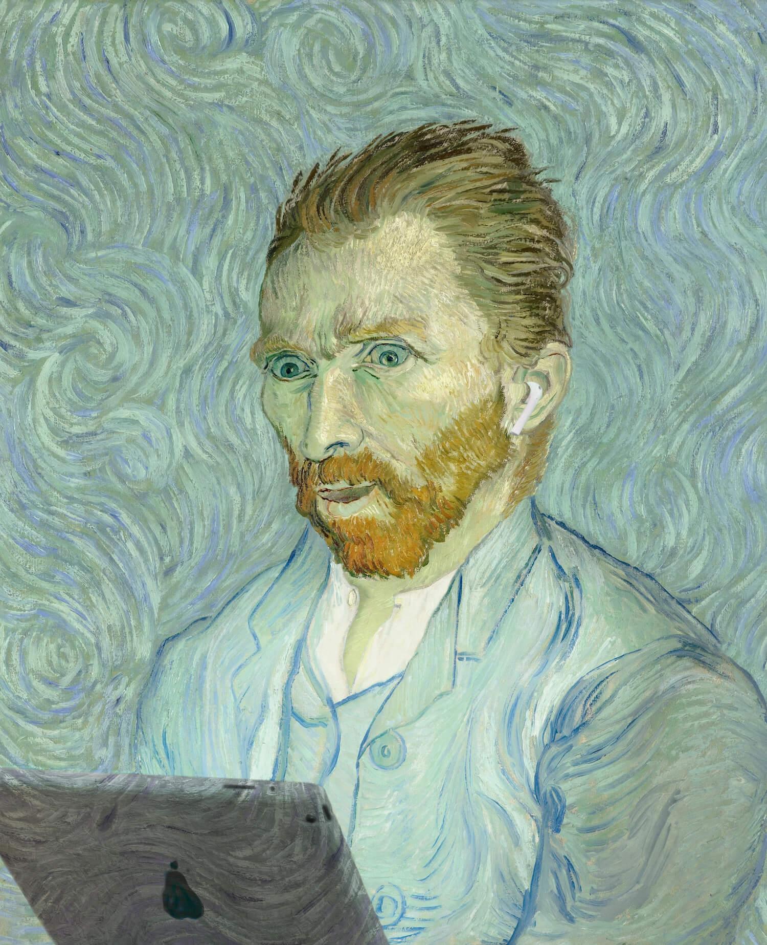 Vincent van Gogh - Self-Portrait - fibre - 39x48
